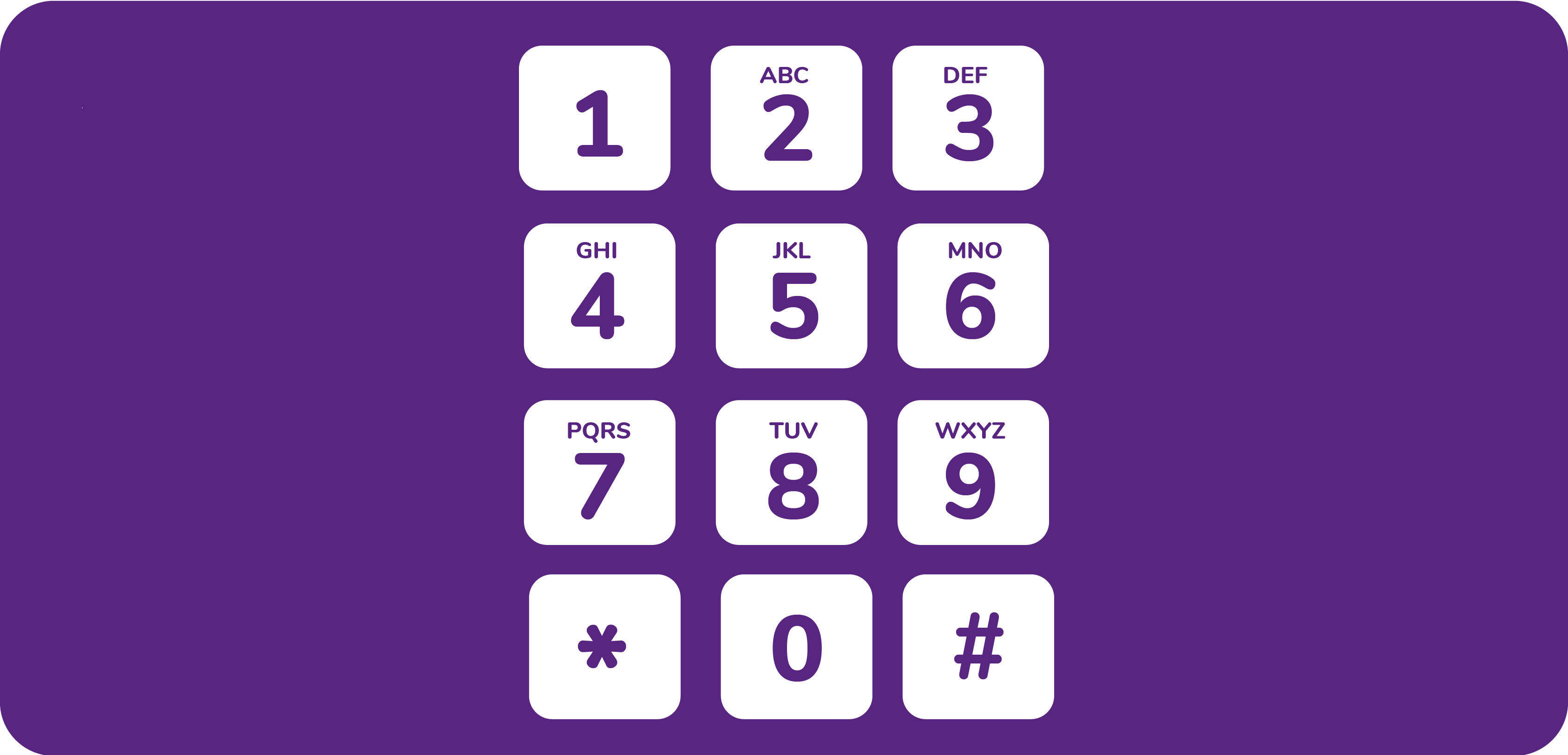 White telephone number keys on purple background