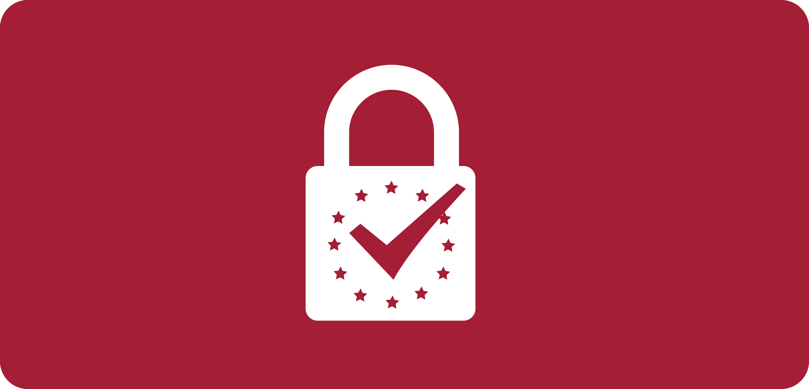 White padlock icon on red background