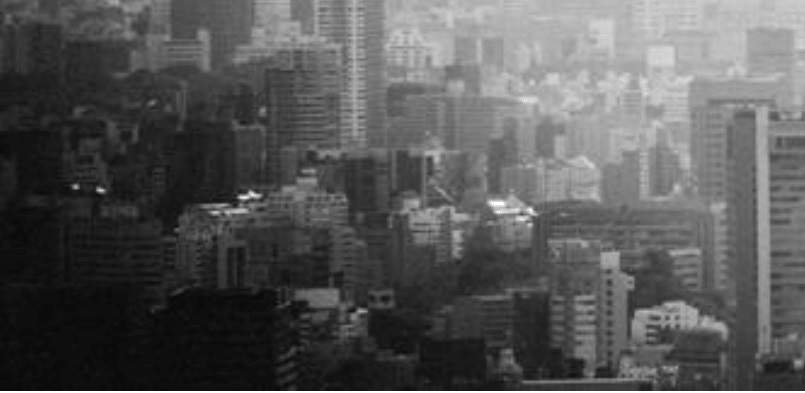 Black and white city panorama