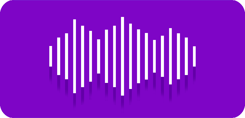 White radio waves on purple background