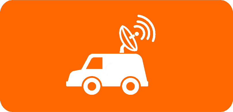 White car icon with antenna on orange background