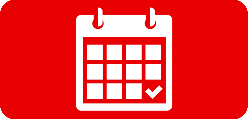 White calendar icon on red background
