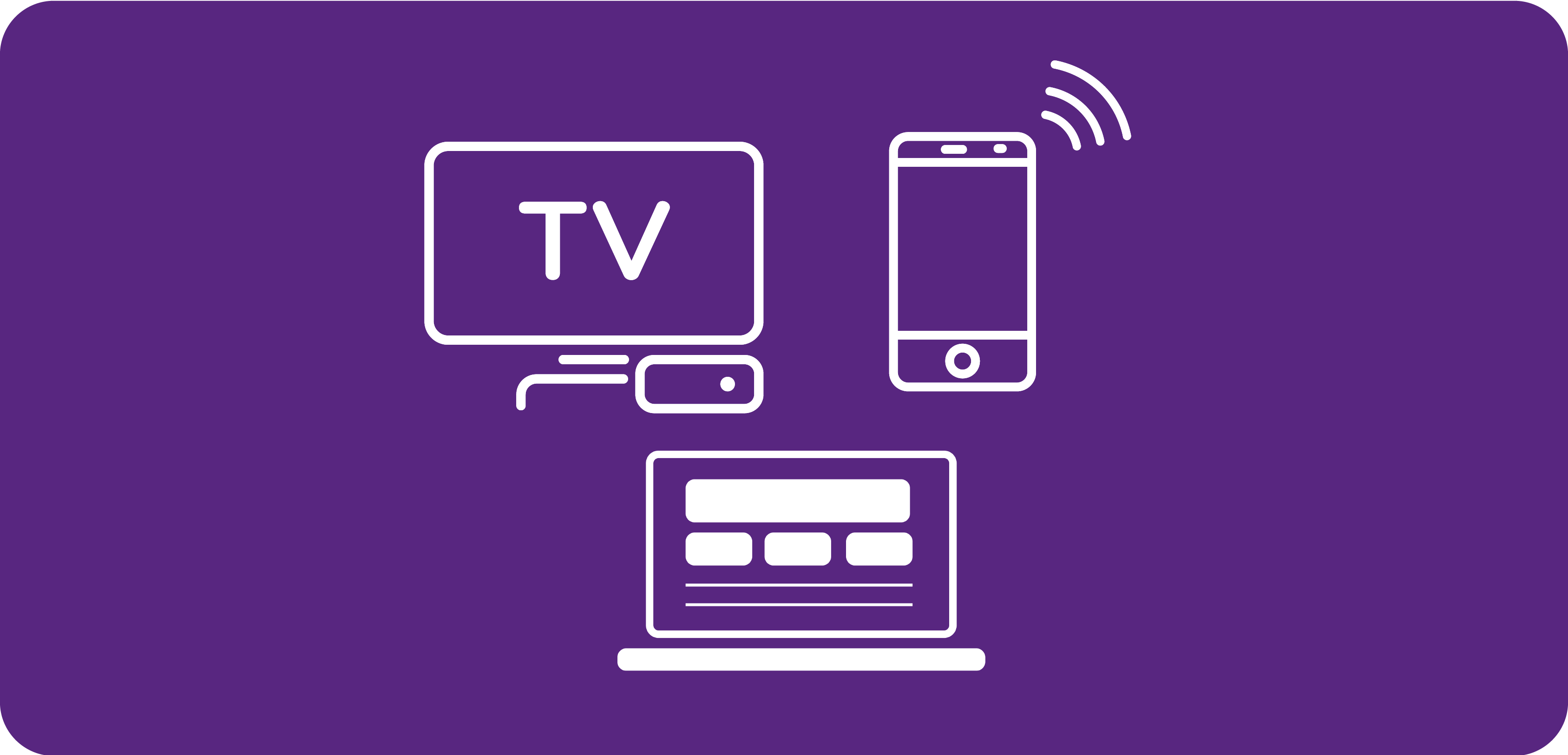 White TV, mobile and laptop icons on purple background