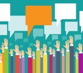 Hands up with speech bubbles survey concept